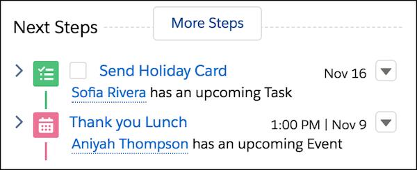 Les étapes suivantes incluent une liste des tâches du plan d'engagement avec une nouvelle tâche unique.