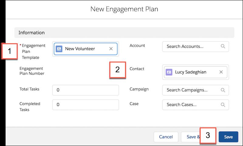 [新規エンゲージメント計画] フォームの詳細。参照項目と推奨エンゲージメント計画テンプレートのリストが含まれています。