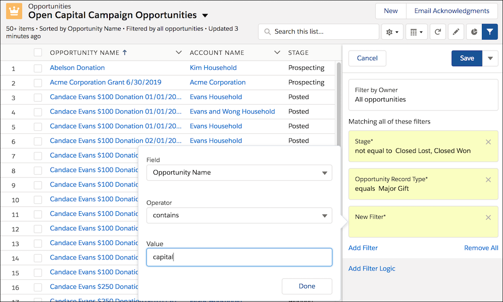 The List View, showing the filter form with field, operator and value fields