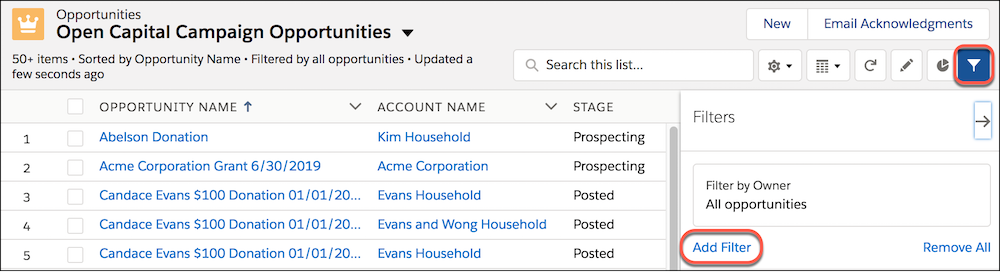 Open Capital Campaign Opportunities List View, highlighting the filter icon and menu