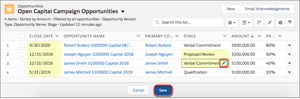 In-line editing of Opportunity Stage, in a List View