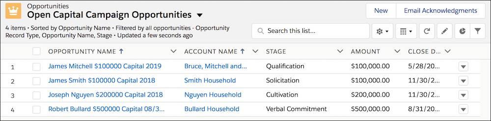 Vue de liste, filtrée sur un segment d'opportunités