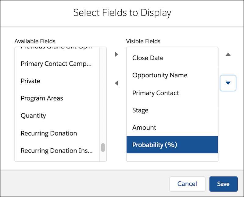 Formulaire de personnalisation de la vue de liste affichant Sélectionner les champs à afficher