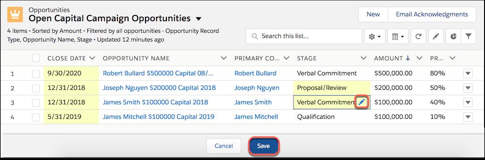 Modification en ligne de l'étape d'opportunité dans une vue de liste