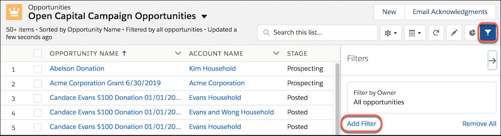 検索条件アイコンとメニューが強調表示された [Open Capital Campaign Opportunities (進行中のキャピタルキャンペーン商談)] リストビュー。