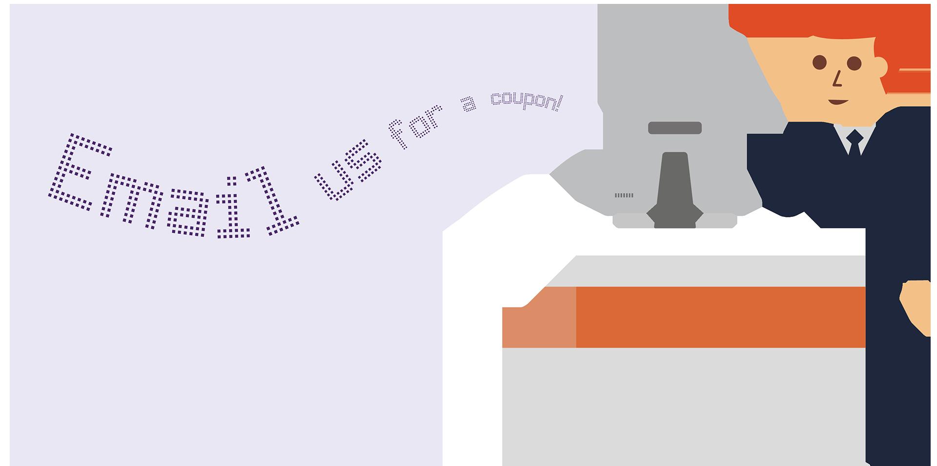Caisse enregistreuse avec une demande d'envoi d'e-mail.