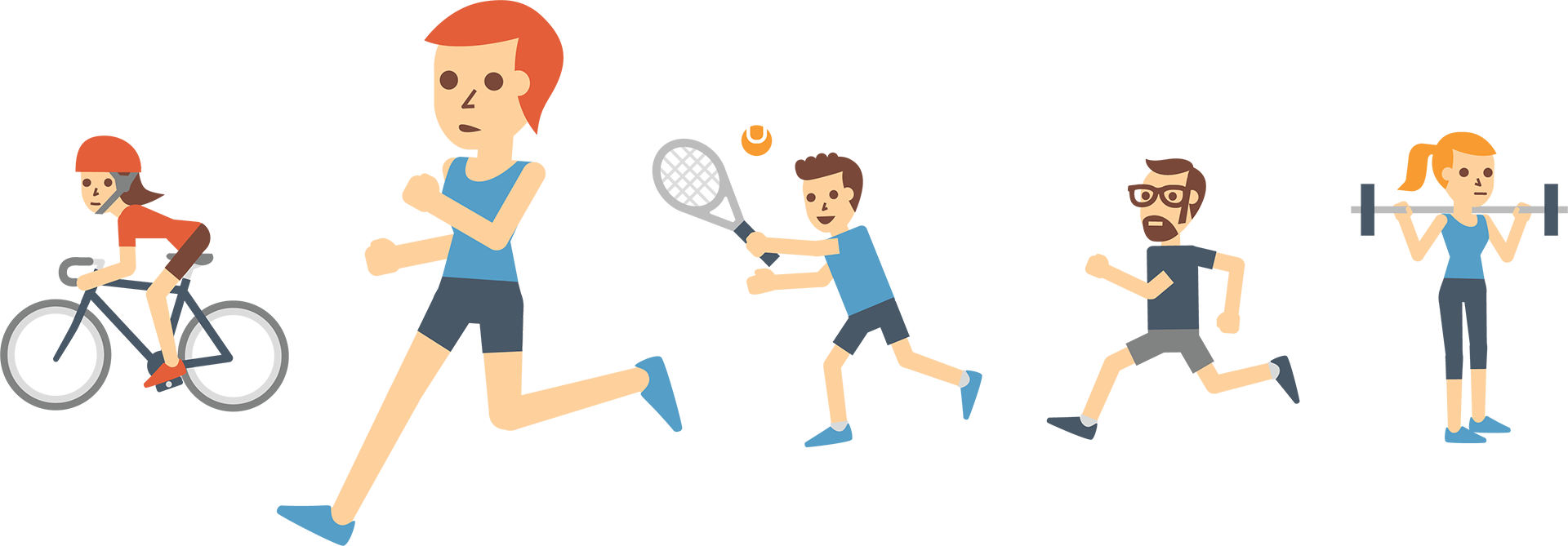 Illustration de différents intérêts tels que la randonnée, le vélo, la course à pied, avec la course au premier plan.