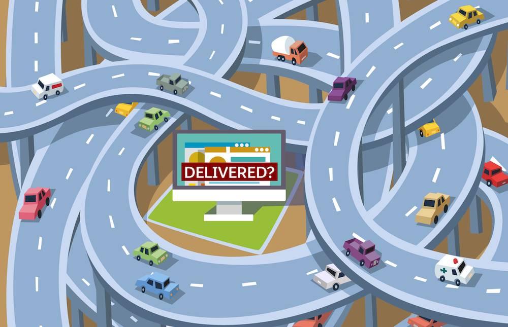 Emaranhado de estradas, representação da tentativa de entrega de um e-mail.