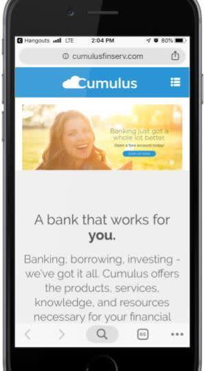 Sitio web de Cumulus en un teléfono celular