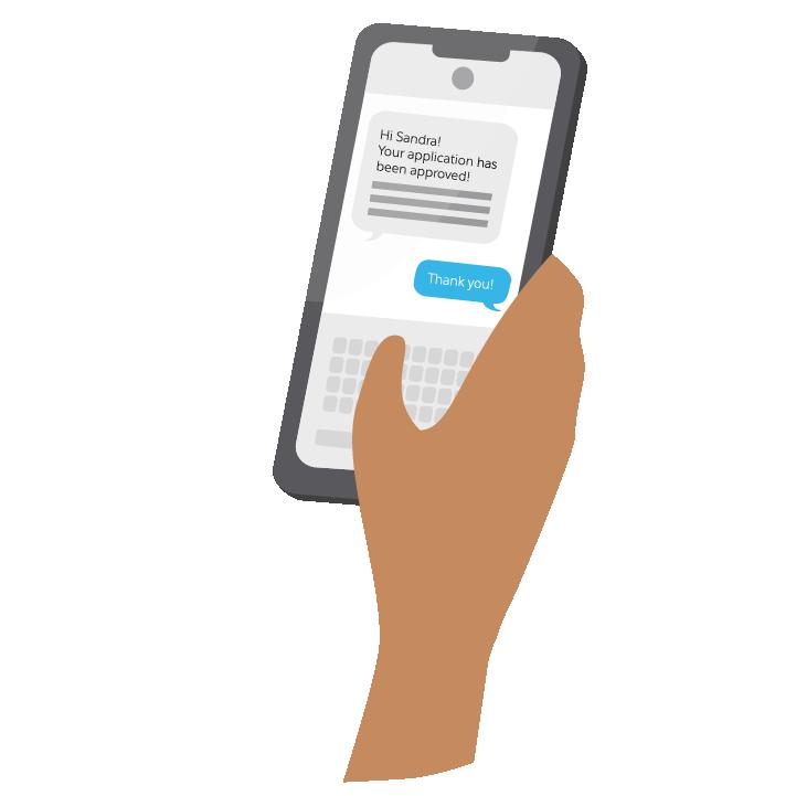 Notificação de SMS para Sandra aprovando seu empréstimo