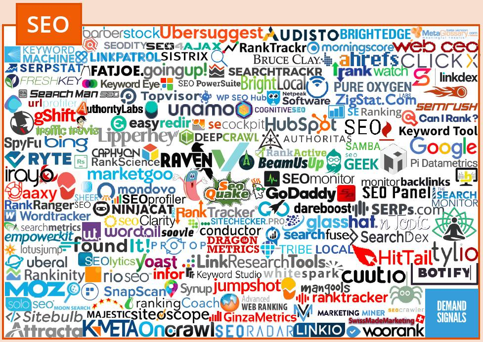 More than 120 company logos within the SEO category of the marketing technology landscape, according to chiefmartec.com.