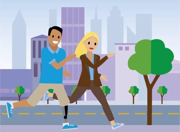 Deux personnes portant des baskets, faisant de la course à pied.