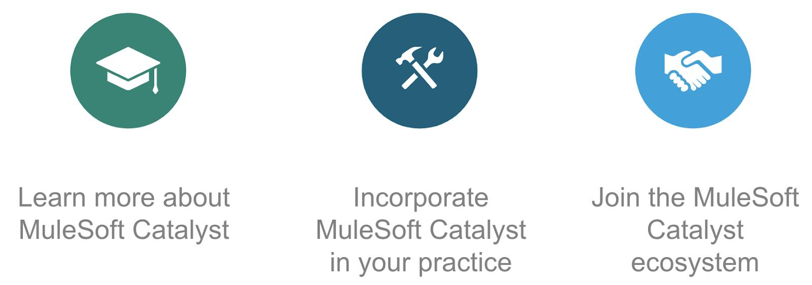 Your next steps include learning more about MuleSoft Catalyst, incorporating MuleSoft Catalyst in your practice, and joining the MuleSoft Catalyst ecosystem.