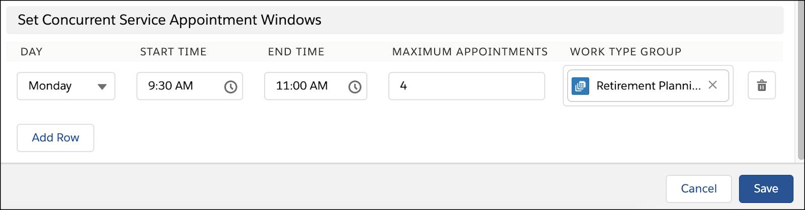 The section Set Concurrent Service Appointment Windows.
