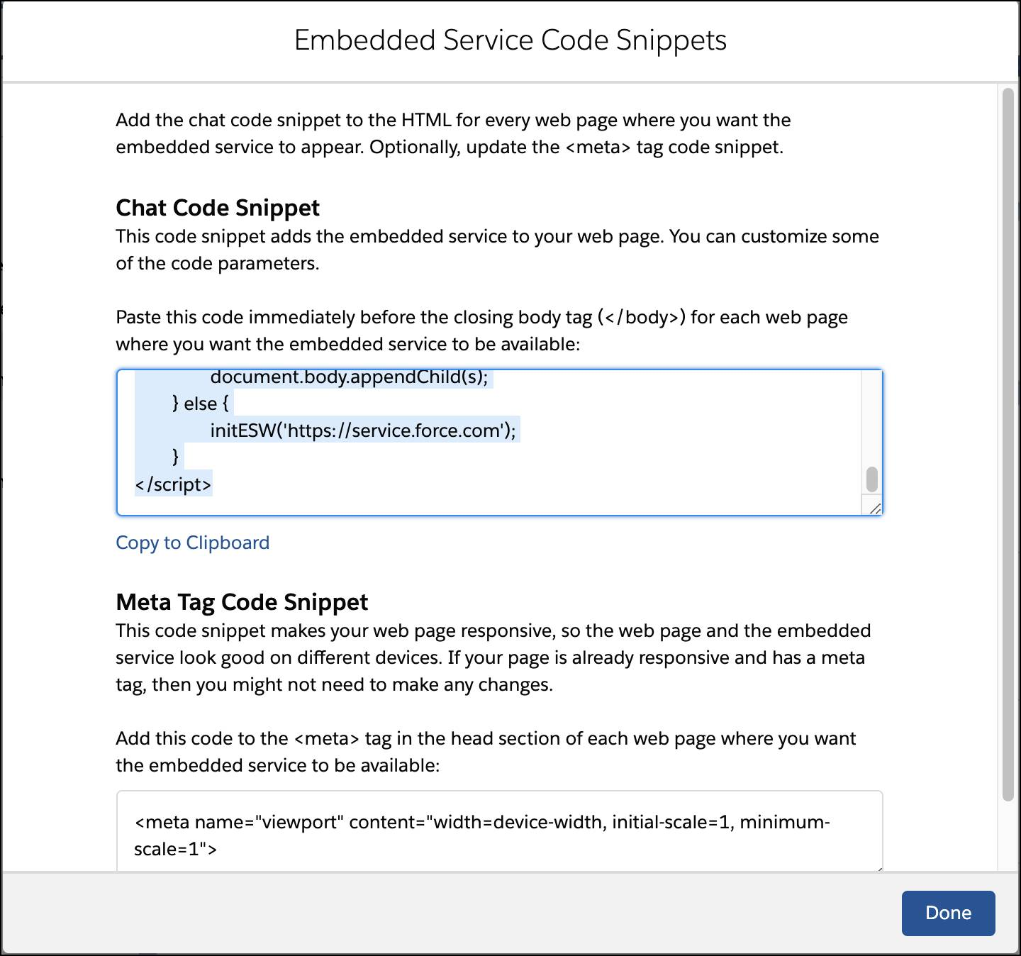 Embedded Service Code Snippets window showing codes to be copied.