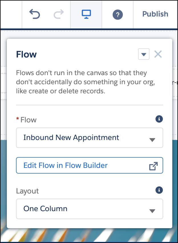 The Inbound New Appointment flow with the Publish button at the top.