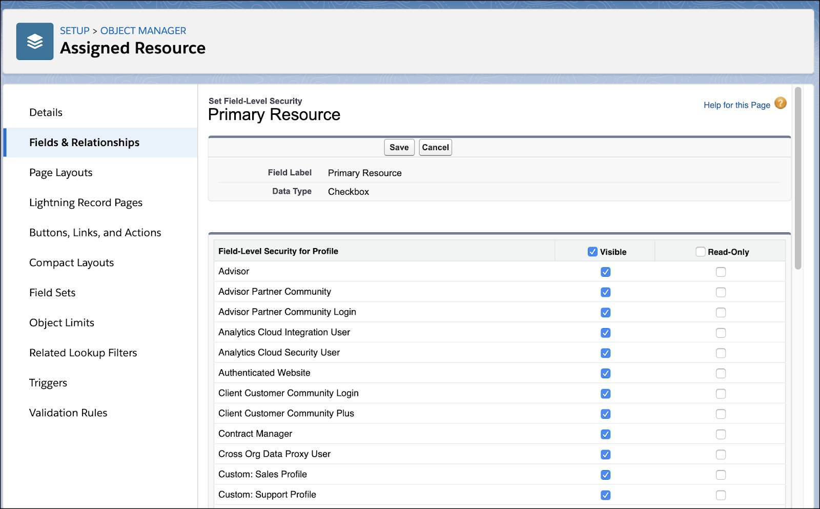 The Primary Resource page with the Visible checkbox selected for all profiles.