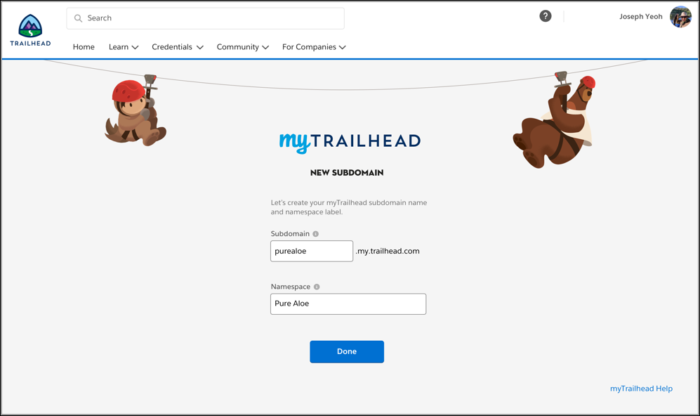 New Subdomain page, filled out with Pure Aloe's myTrailhead subdomain name and namespace label