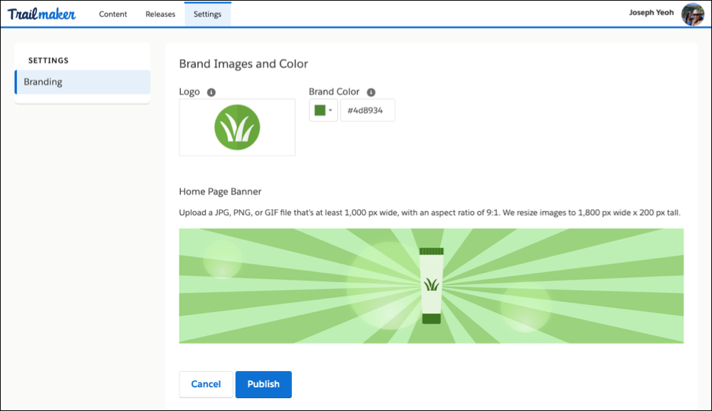 Branding page in Trailmaker, showing the Pure Aloe logo, brand color, and banner image
