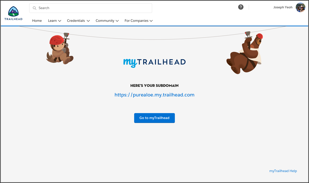 Final subdomain page showing the URL for Pure Aloe's myTrailhead subdomain