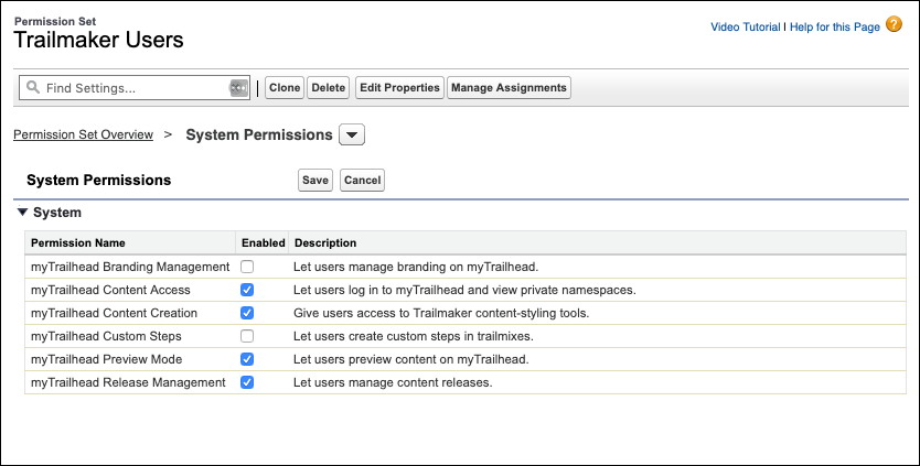 Trailmaker Users permission set page, showing the four permissions selected for the set