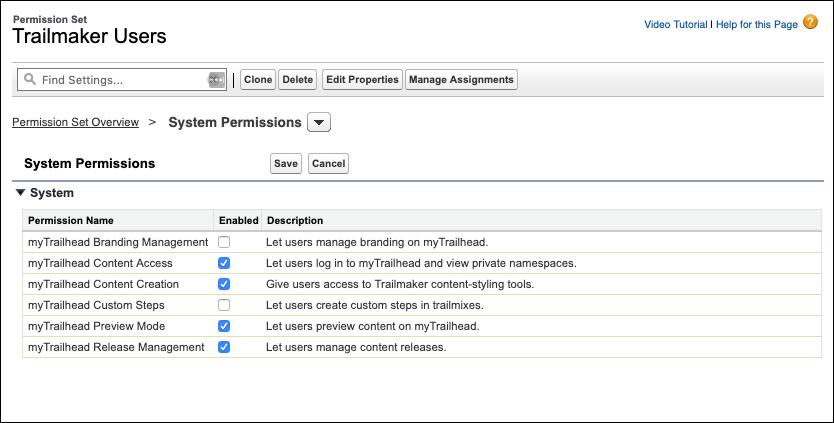 Page de l'ensemble d'autorisations Utilisateurs de Trailmaker affichant les quatre autorisations sélectionnées pour l'ensemble