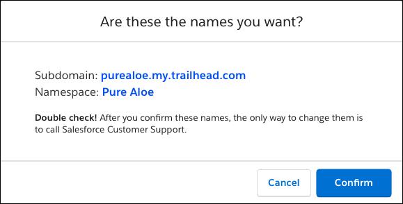 Pure Aloe のサブドメイン名と名前空間の表示ラベルが表示されている [確認] ウィンドウ
