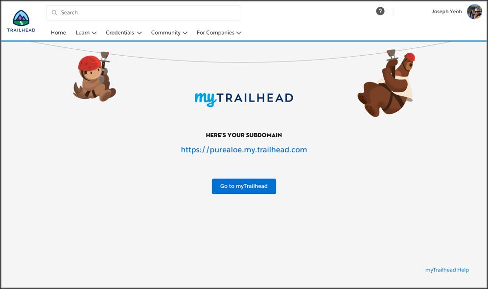 Pure Aloe の myTrailhead サブドメインの URL が表示されているサブドメインの最終ページ