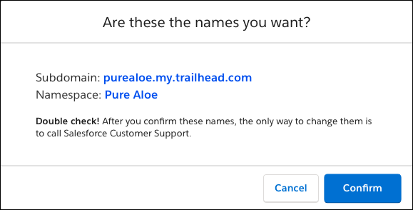 Janela de confirmação que mostra o nome de subdomínio e o rótulo de namespace da Pure Aloe