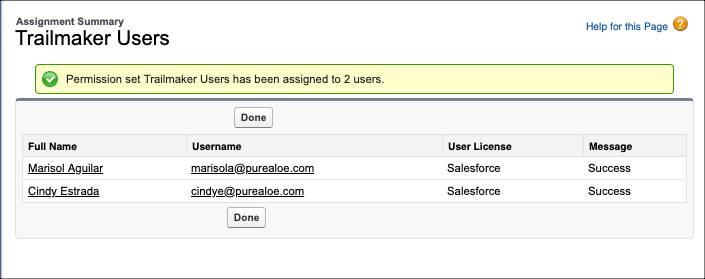 Página Resumo de atribuições para o conjunto de permissões Usuários do Trailmaker mostrando as atribuições de Marisol e Cindy