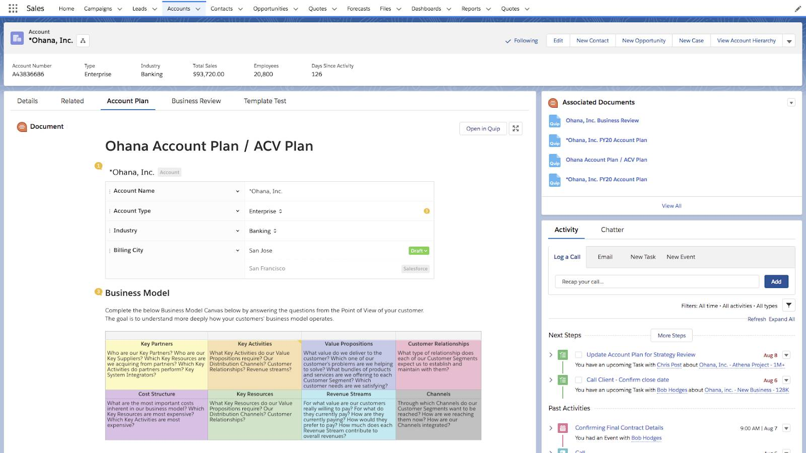 A Quip account plan with project tracking in the Salesforce Account Plan related record.