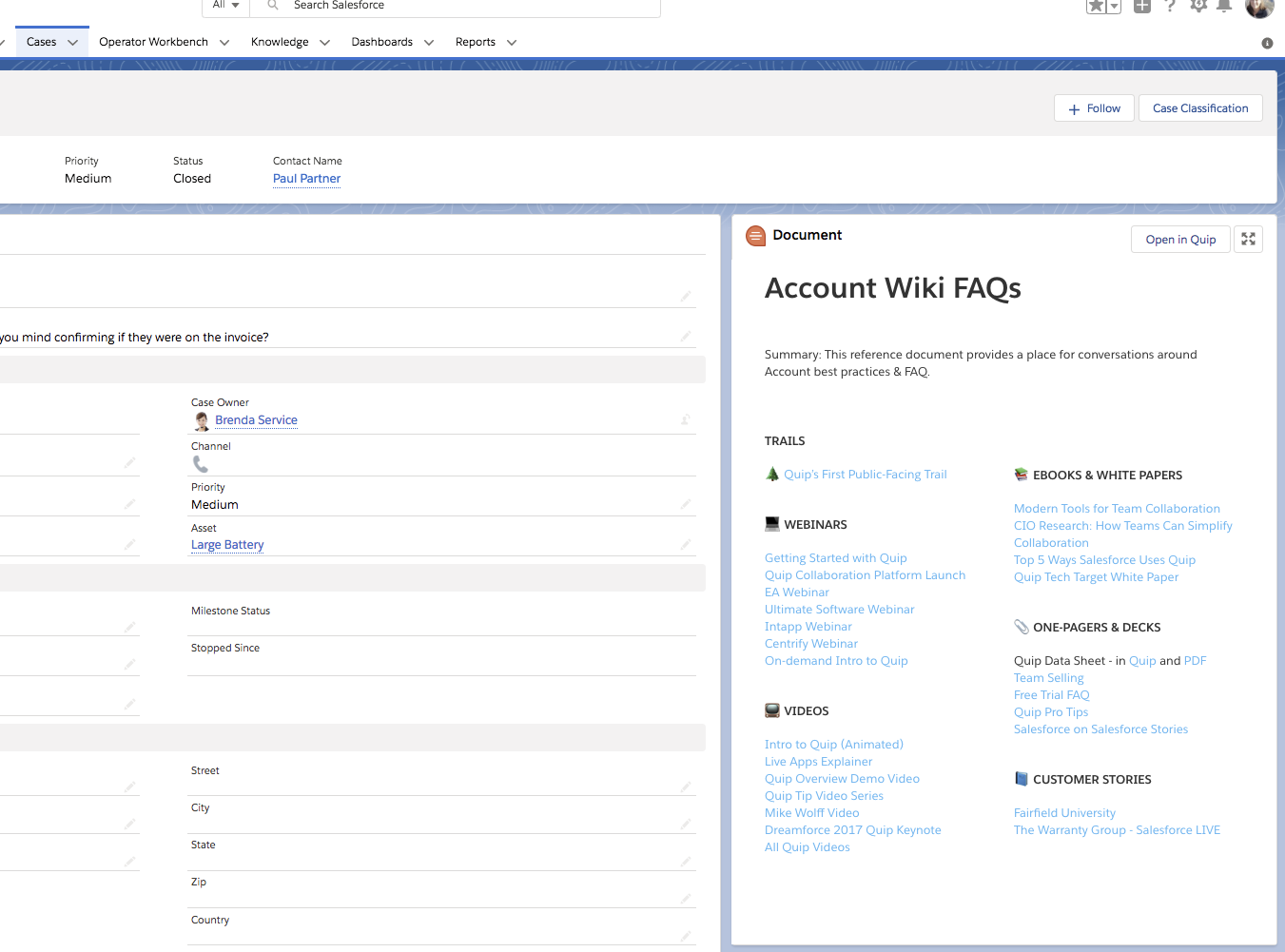 A Quip document entitled Account Wiki FAQs to the right of the standard Salesforce case record.