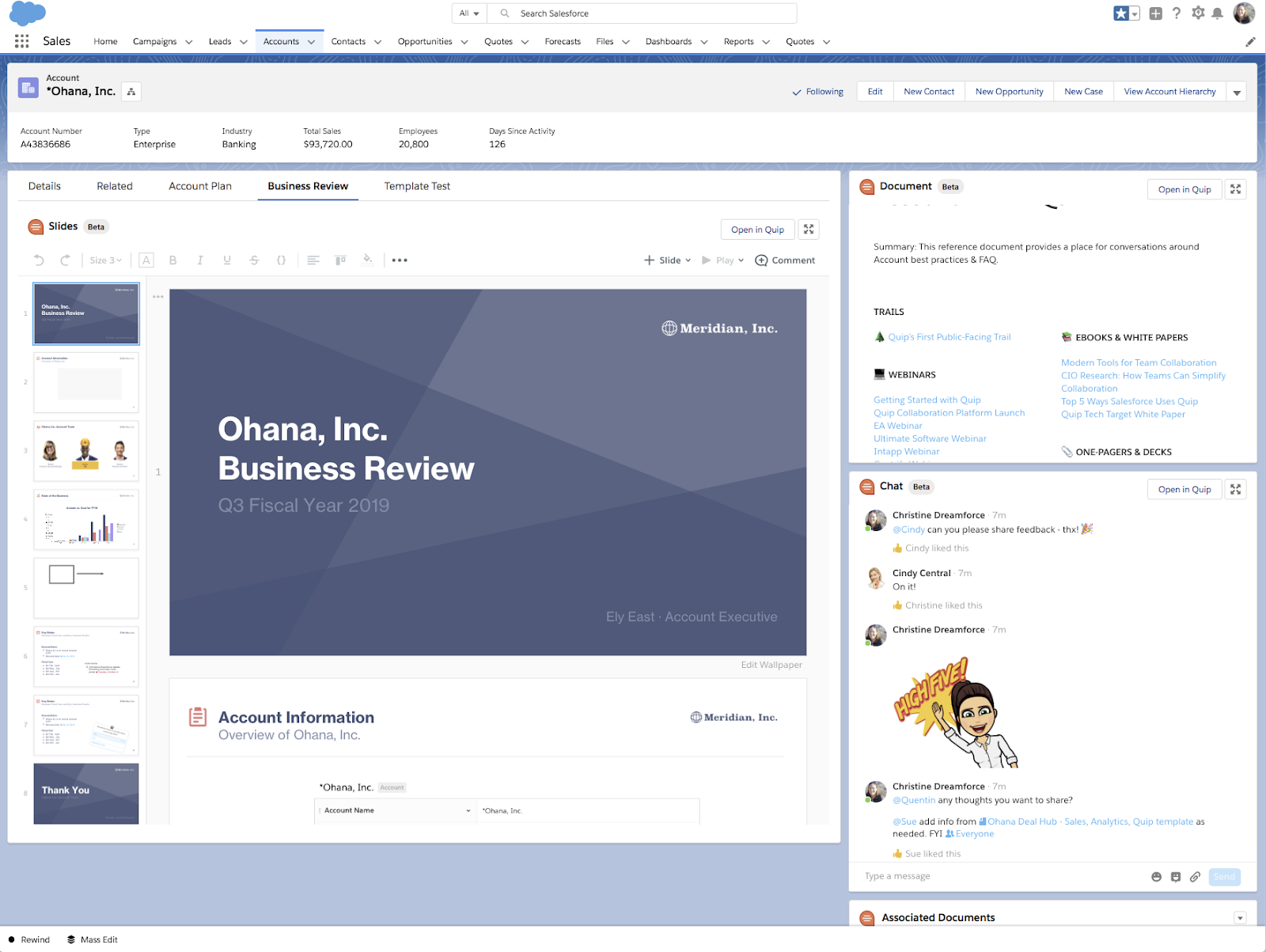 Multiple Quip components that make up the Business Review in the Salesforce Account record, including slides, FAQ document, and chat room.