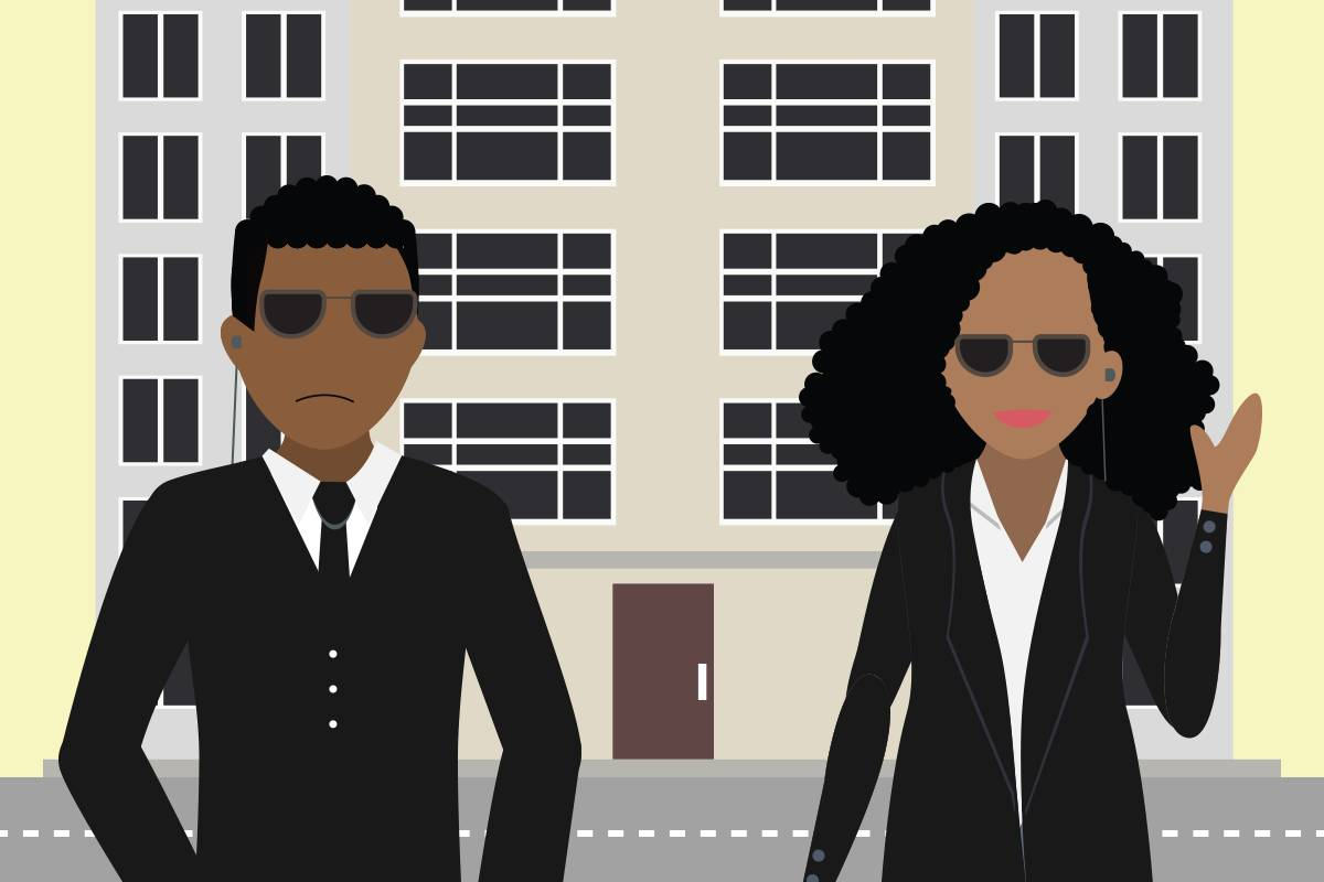Similar to network security engineers' jobs, two security guards are standing in front of a building protecting those inside the building by controlling entry into the building.
