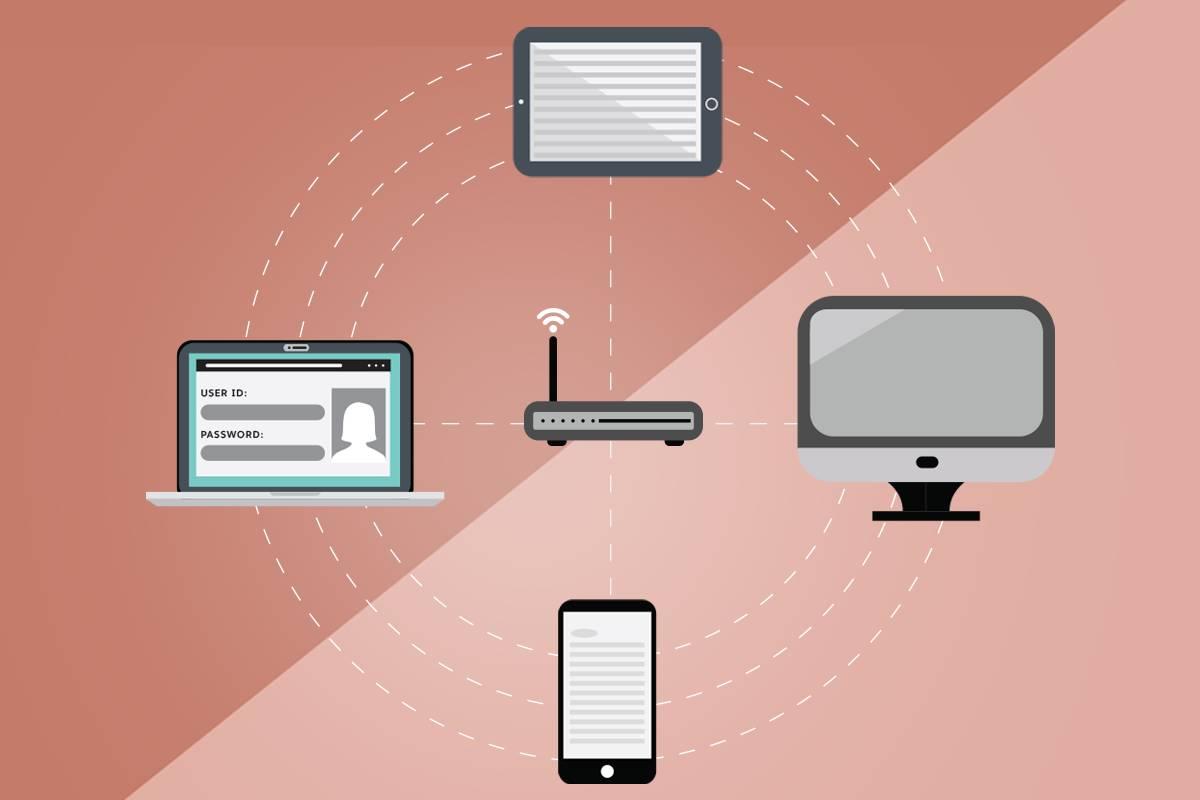 電話、タブレット、ラップトップ、デスクトップが Wi-Fi ネットワークに接続されています。