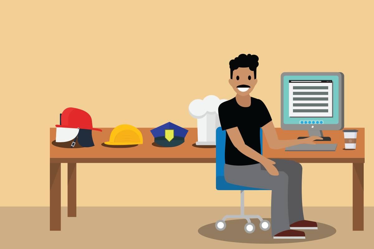 さまざまな帽子が置かれたデスクに座っているネットワークセキュリティエンジニア。これらの帽子はネットワークセキュリティエンジニアがその職務において多くの役割を担っていることを示しています。
