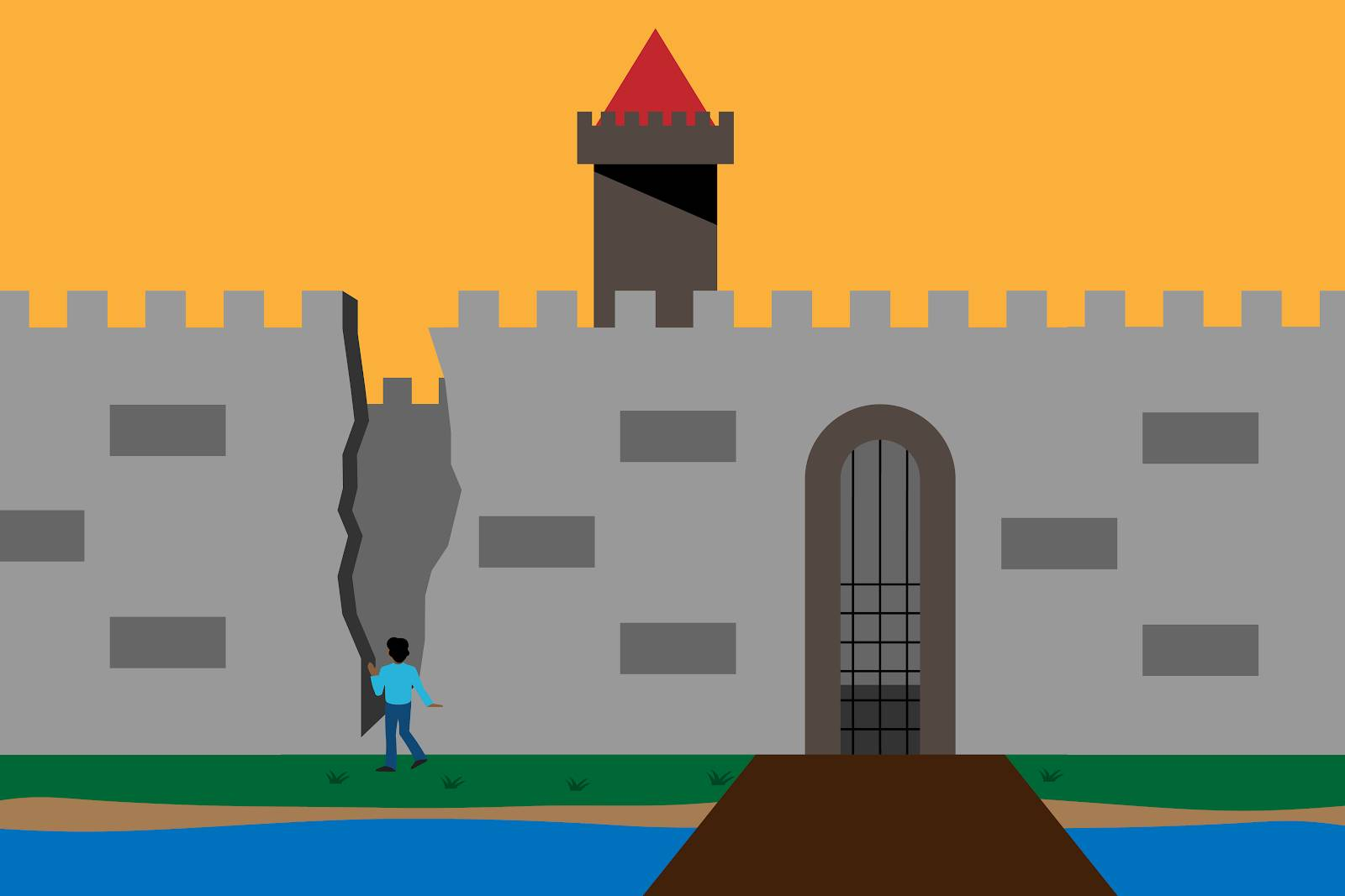 An image of a castle with high walls and a moat, but someone entering through a large crack in the castle wall.