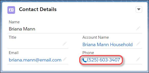 A clickable phone number on a contact record, enabled via Lightning Dialer