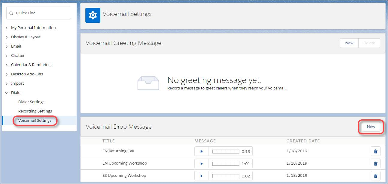 The Voicemail Settings and Voicemail Drop Message options