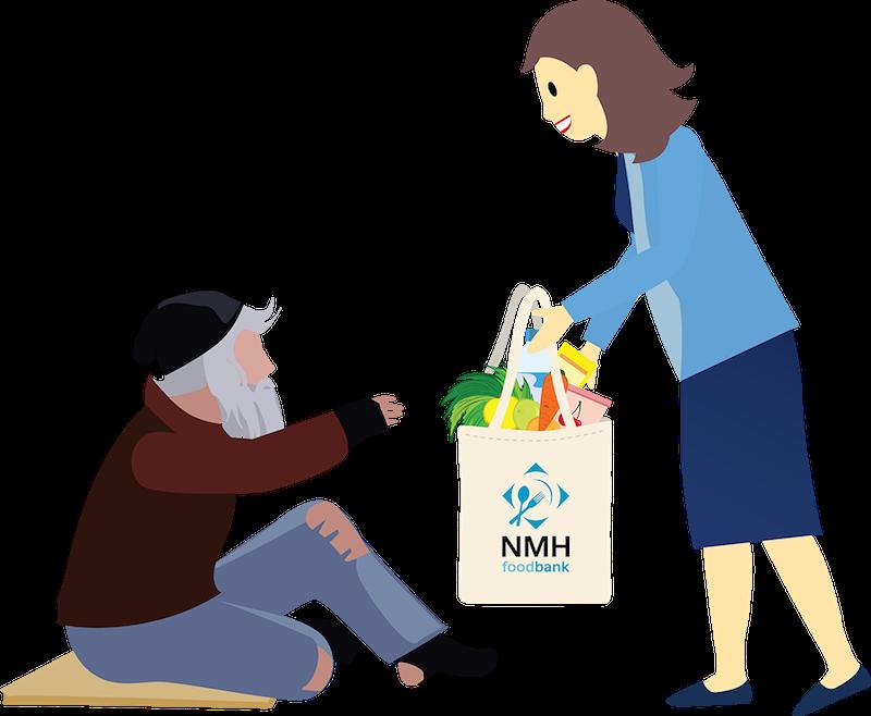 Un membre du personnel de NoMoreHomelessness distribue des articles issus de la banque alimentaire dans le cadre d'une stratégie de sensibilisation du public.