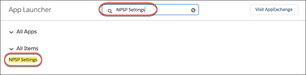App Launcher search highlighting NPSP Settings link