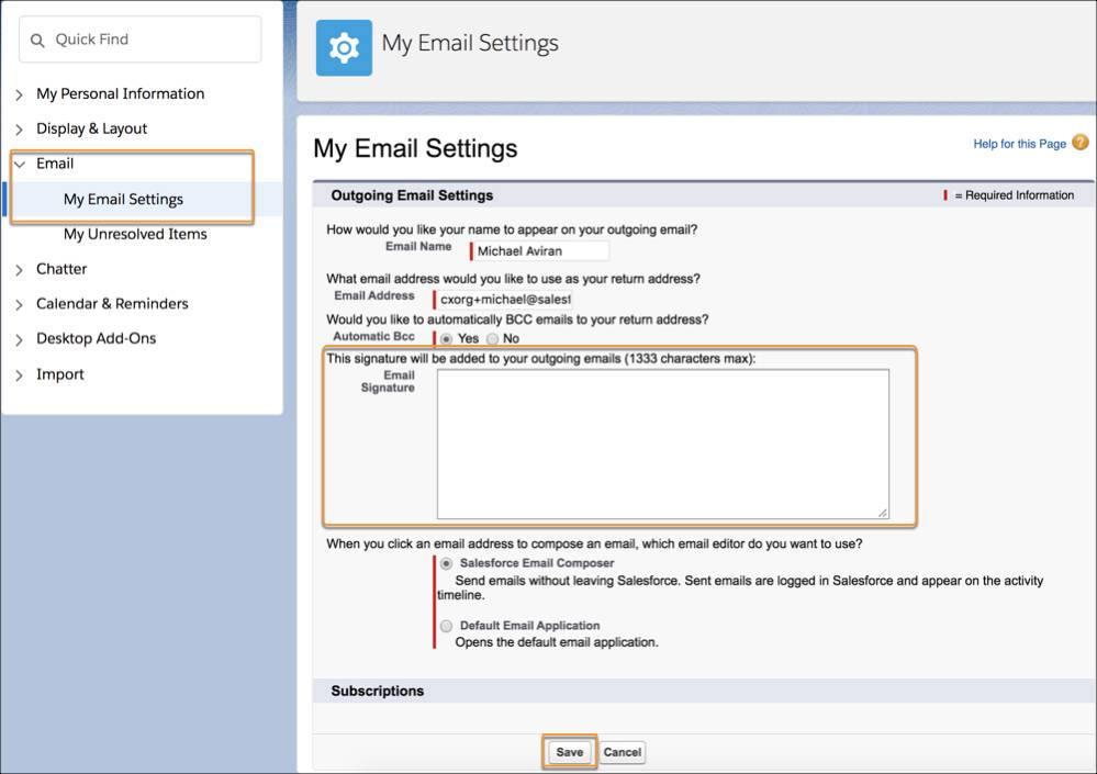 My Email Settings page.