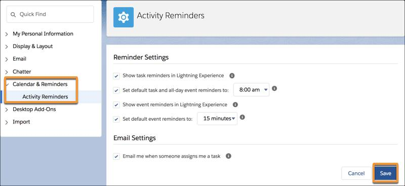 The Activity Reminders page.