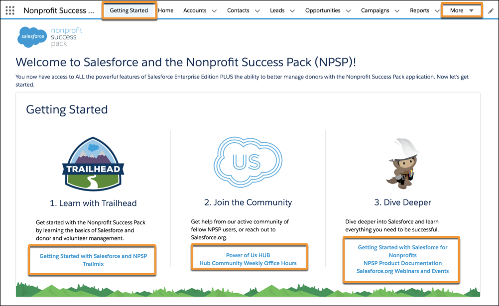 The Getting Started page inside NPSP.