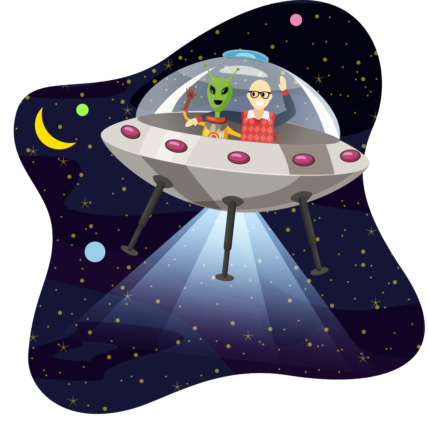 Gorav in a space ship with an alien; a close encounter, indeed!