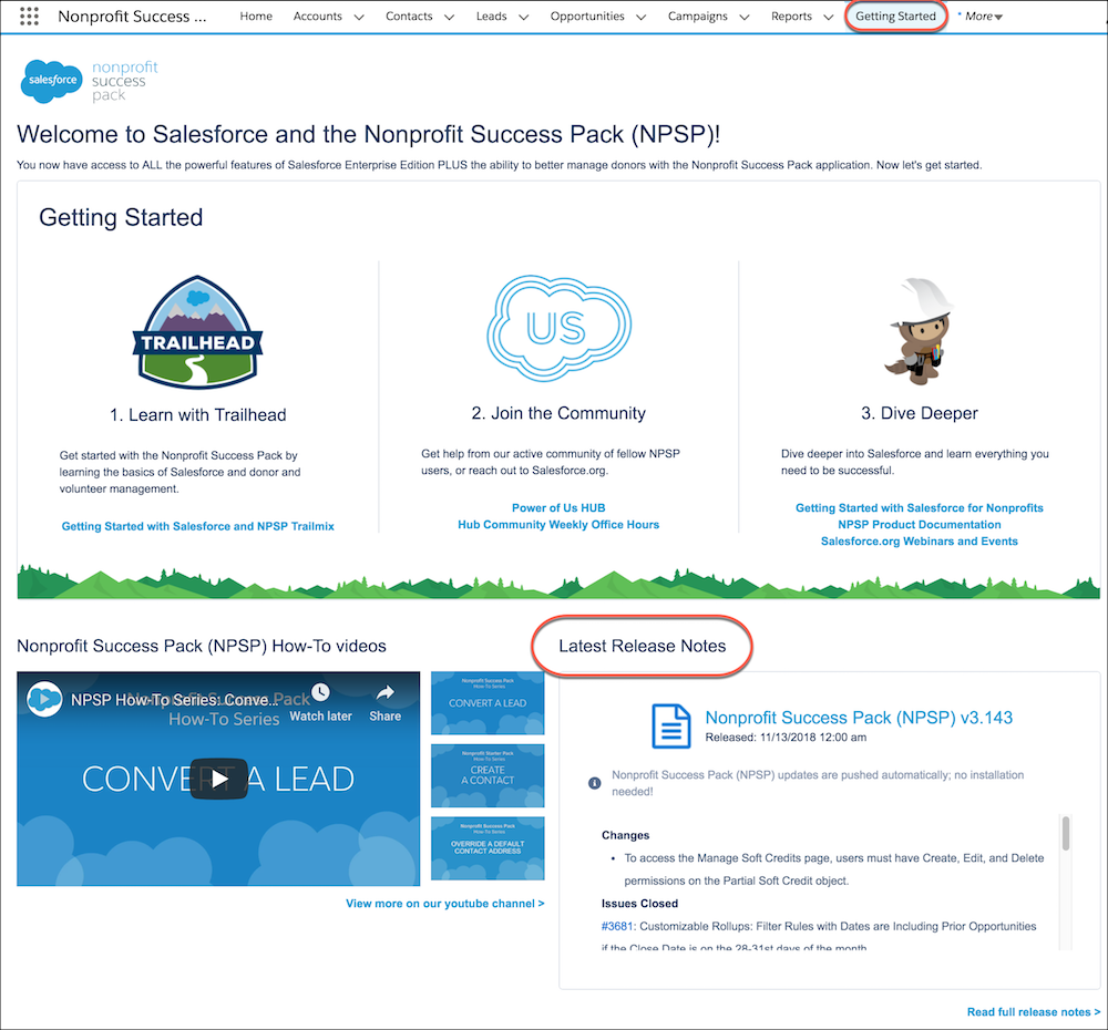NPSP Getting Started page, highlighting Latest Release Notes section