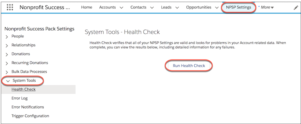 NPSP Settings page highlighting System Tools and Health Check