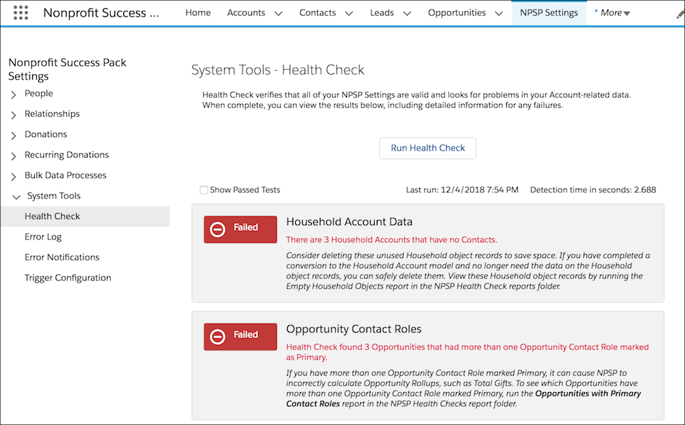 Health check results including errors