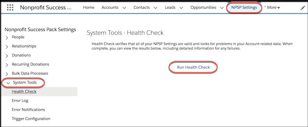 Page Paramètres NPSP avec les options Outils système et Contrôle d'intégrité mises en évidence