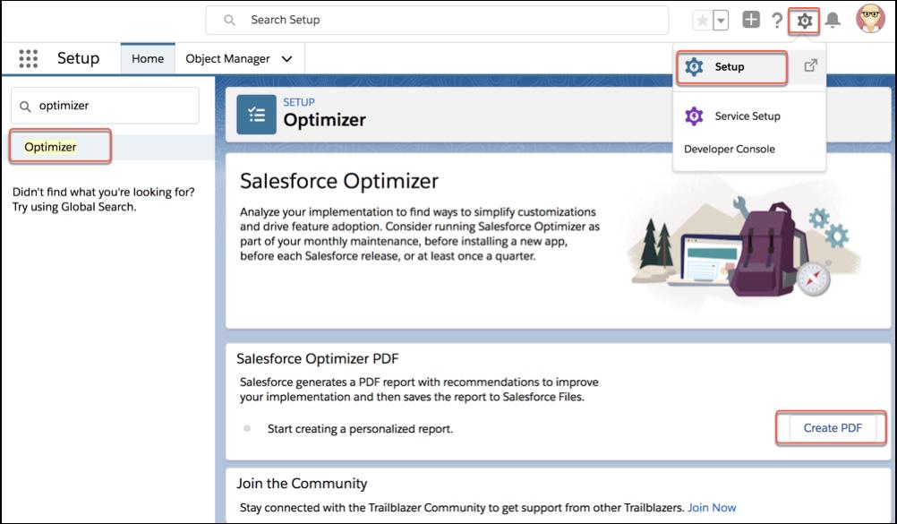 Option Créer le PDF dans SalesforceOptimizer